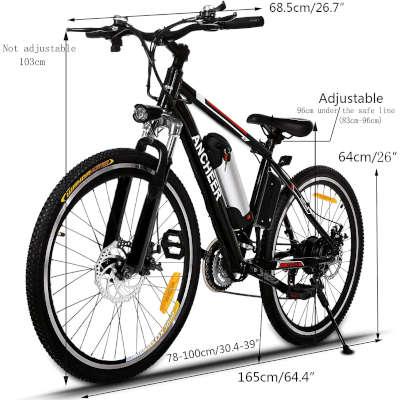 misure bici elettrica ancheer