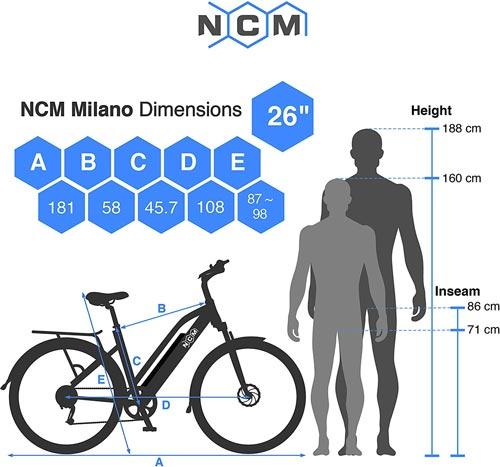 scheda tecnica ncm milano bici elettrica a pedalata assistita