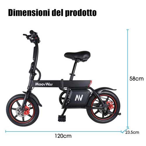misure bici elettrica moovway