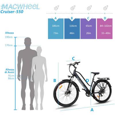 macwheel cruiser 550 misure bici elettrica
