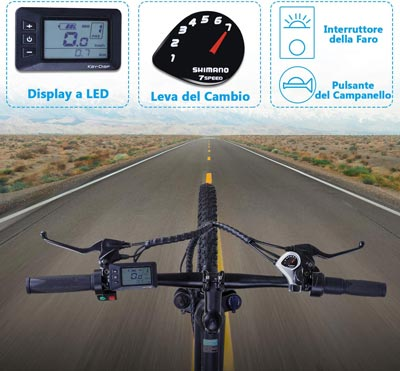mtb elettrica macwheel display a led