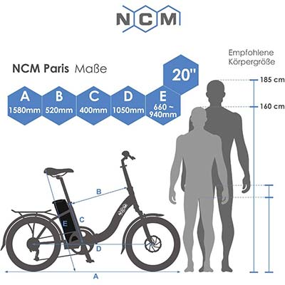 dimensioni bici elettrica ncm paris