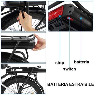 Batteria estraibile bici elettrica ancheer 26 da donna