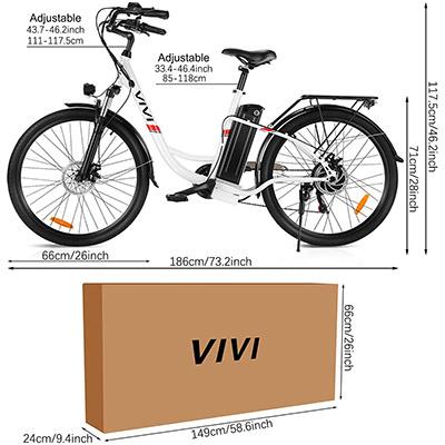 misure bicicletta elettrica Vivi C26 Winice